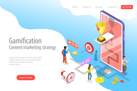 Isometric flat vector landing pate template of gamification, interactive content Çizim