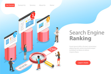 Flat isometric vector landing pate template of seo ranking.