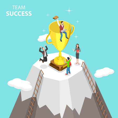 Concepto de vector plano isométrico de éxito del equipo, trabajo en equipo eficaz, liderazgo empresarial, proyecto exitoso.