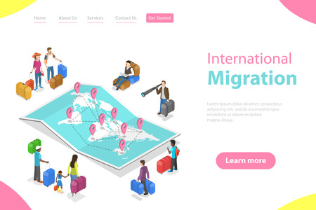 Isometric flat vector landing page template of international migration.