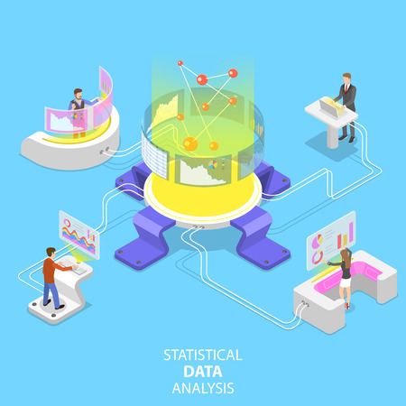 Flat isometric vector concept of statictical data analysis and analytics, audit report, company performance analysis.