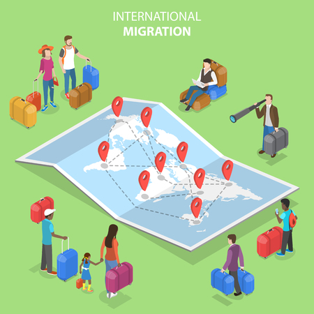 Isometric flat vector concept of international migration, immigration. 스톡 콘텐츠 - 122133819