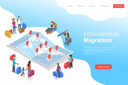 Isometrische flache Vektor-Landing-Page-Vorlage der internationalen Migration.