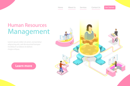 Isometric flat vector landing page template of employee search service, headhunting, recruitment, HR manager review.