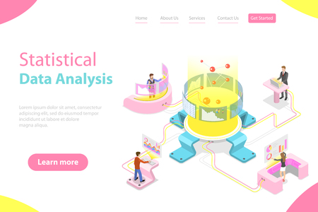 Flat isometric vector landing page template of statictical data analysis and analytics, audit report, company performance analysis. Illusztráció