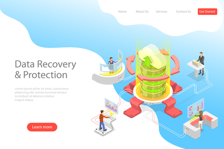 Isometric flat vector landing pate template of data recovery services, data backup and protection, hardware repair. Ilustracja