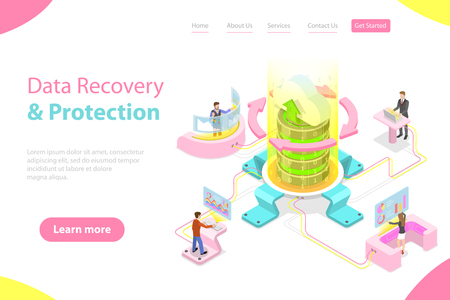 Isometric flat vector landing pate template of data recovery services, data backup and protection, hardware repair. Ilustração