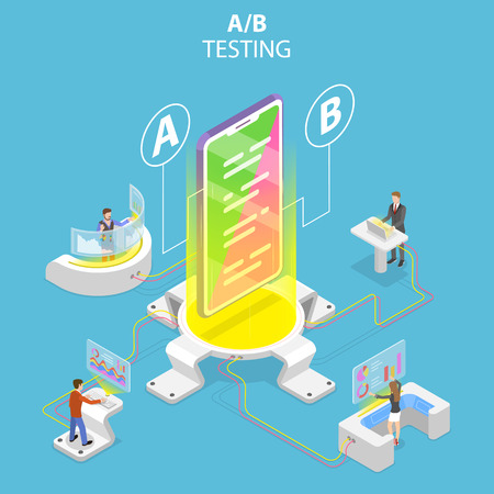 Isometric flat vector concept of AB testing, split test, A-B comparison.