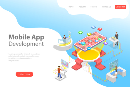 Flat isometric vector landing page template of mobile app development, programming, coding, software.