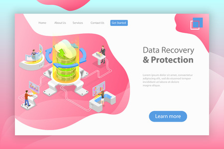 Isometric flat vector landing pate template of data recovery services.