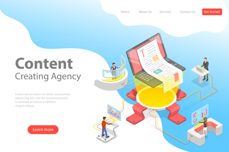 Flat isometric vector landing pate template of content creating, copywriting, creative writing, content marketing. Zdjęcie Seryjne - 120612421
