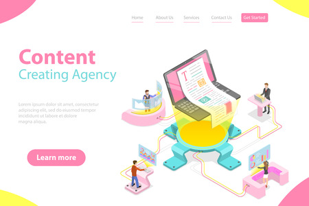 Flat isometric vector landing pate template of content creating, copywriting. Illustration