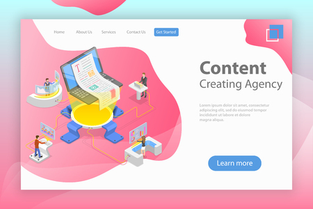 Flat isometric vector landing pate template of content creating, copywriting, creative writing, content marketing.