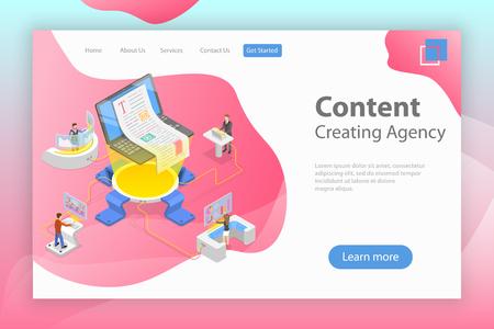 Plantilla de pate de aterrizaje vectorial isométrica plana de creación de contenido, redacción de textos publicitarios, escritura creativa, marketing de contenido.