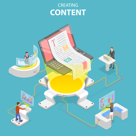 Flat isometric vector concept of content creating, copywriting, creative writing, content marketing. Illustration