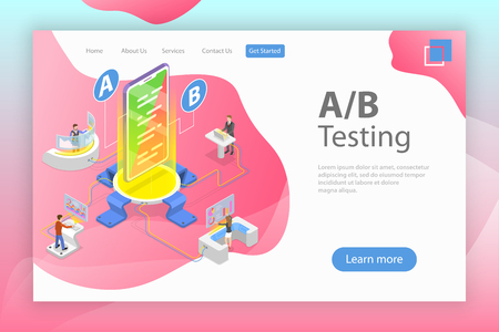 Isometric flat vector concept of AB testing, split test, A-B comparison, web development. Illusztráció