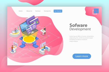 Flat isometric vector landing page template of software development, teamwork, brainstorm, coding.
