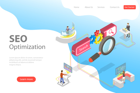 Flat isometric vector landing page template of search engine ranking, web analytics, SEO, website optimization marketing.