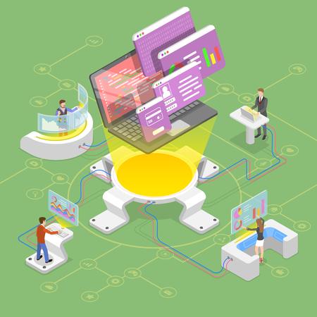 Flat isometric vector concept of software development, teamwork, brainstorm, coding Иллюстрация