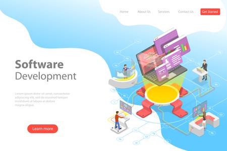 Flat isometric vector landing page template of software development, teamwork, brainstorm, coding
