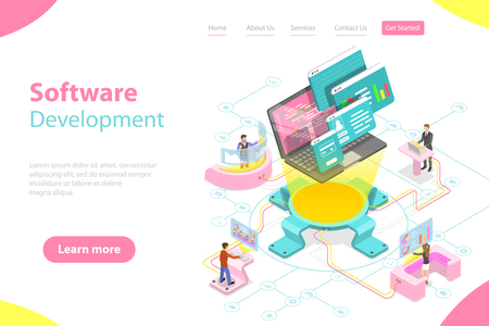 Flat isometric vector landing page template of software development.