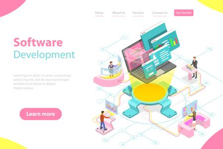 Plantilla de página de destino de vector plano isométrico de desarrollo de software. Ilustración de vector