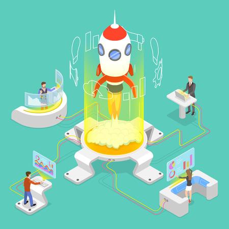 Concepto de vector plano isométrico de puesta en marcha de nuevos negocios, lanzamiento de proyecto.