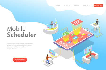 Flat isometric vector landing page template of mobile scheduler 일러스트