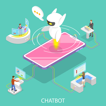 Flat isometric vector concept of chatbot, ai, artificial intelligence, customer support, markting strategy.