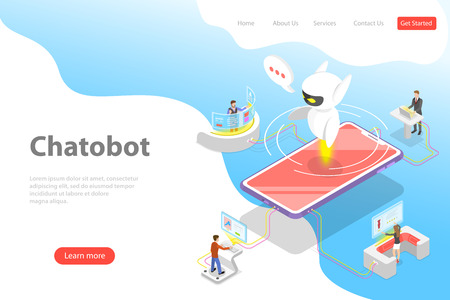 Flat isometric vector landing page template of chatbot, ai, artificial intelligence, customer support, markting strategy.