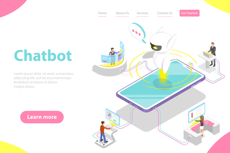 Flat isometric vector landing page template of chatbot, ai.