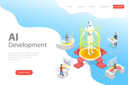 Flat isometric vector landing page template of AI development.