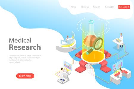 Modello di pagina di destinazione di vettore piatto isometrico della ricerca medica.