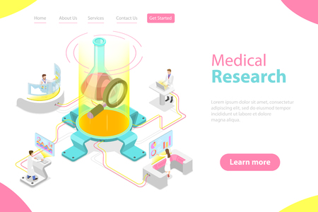 Isometric flat vector landing page template of medical research. Stock Vector - 122133954