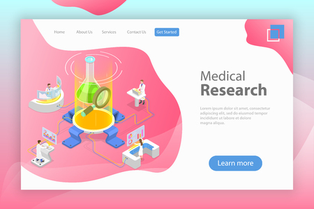 Isometric flat vector landing page template of medical research. Illustration