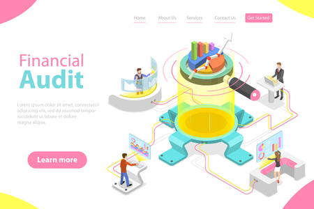 Flat isometric vector landing page template of financial audit service, tax examination report, planning and accounting.