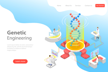 Isometric flat vector concept of genetic engineering, DNA structure changing. Stock Vector - 122133958