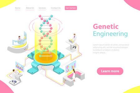 Isometric flat vector concept of genetic engineering, DNA structure changing.