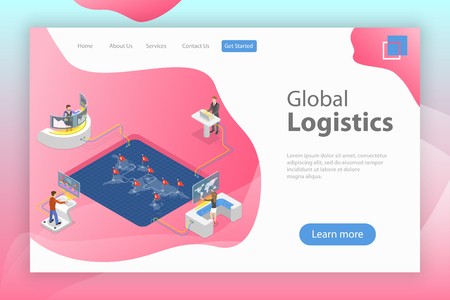 Flat isometric vector landing page template of global logistics.