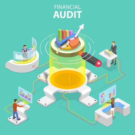 Flat isometric vector concept of financial audit service, tax examination report, planning and accounting. Stock Illustratie