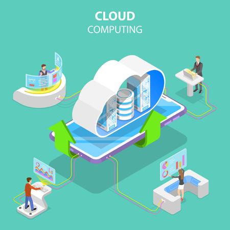 Isometric flat vector concept of cloud computing technology, data storage and hosting, big data. Standard-Bild - 123346976