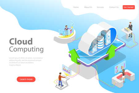Isometric flat vector landing page template of cloud computing technology. Çizim