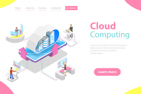Isometric flat vector landing page template of cloud computing technology. Illustration
