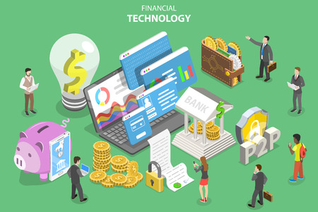 Isometric flat vector concept of fintech, financial technology, online banking, blockchain, data analysis.