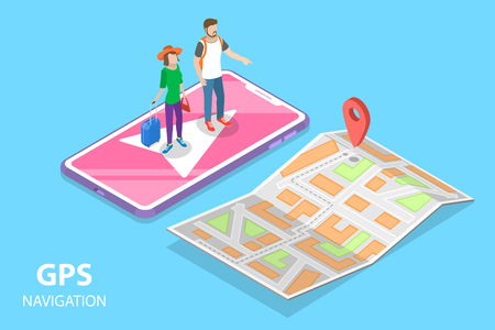 Isometric flat vector concept of mobile pgs navigation, city map, online geolocation.