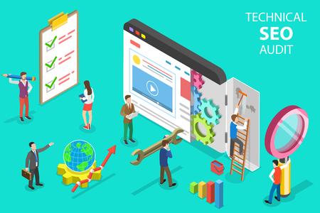 Concepto de vector plano isométrico de auditoría técnica SEO, estrategia de motor de búsqueda, marketing de contenidos, desarrollo de sitios web. Ilustración de vector