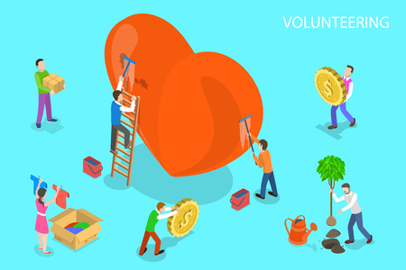 Isometric flat vector concept of volunteering and support, donation to care and help the poor.