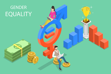 Isometric flat vector concept of gender equality, male and female equal rights.