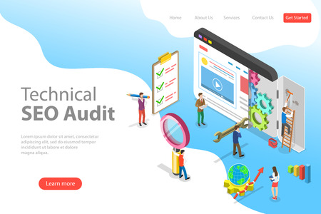Isometric flat vector landing page template of technical SEO audit. Stock Illustratie
