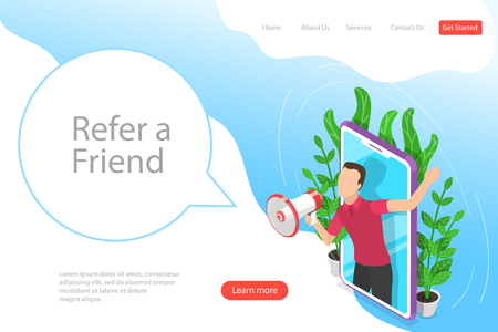 Isometric flat vector landing page template of refer a friend illustration